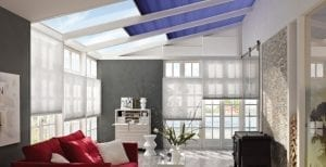 Large modern conservatory with Duette conservatory smart blinds for alexa