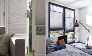 Duette blinds fitted to french doors and windows to keep home cool
