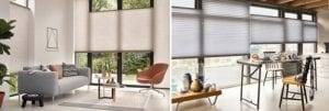 Duette smart blinds in a living room and and kitchen diner to keep sun out of the home