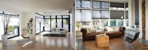 Large modern living rooms fitted with Duette blinds for large windows