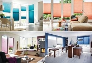 Variety of home interiors in varying colours fitted with Duette blinds for large windows