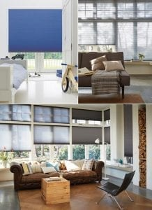 Modern home interiors with large windows fitted with Duette energy saving blinds