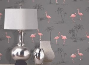 Wallpaper with pink flamingos in a neutral room