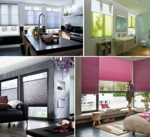 Collage of a cosy home with different rooms fitted with Duette blinds in varying colours