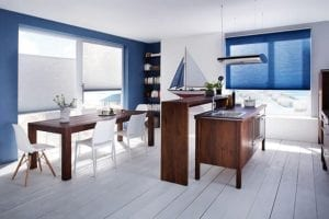 Nautical themed kitchen diner with blue Duette energy saving blinds