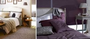 Collage of two cosy bedrooms in different colour schemes