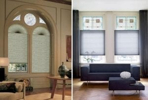 Large period windows in varying shapes fitted with Duette energy saving blinds