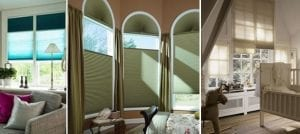 Large windows fitted with Duette energy saving blinds