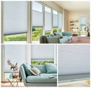 Collage of 3 images showing pastel blue Duette blinds in a minimal living room