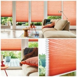Collage of 3 images showing pastel coral colour Duette blinds in an open plan living space