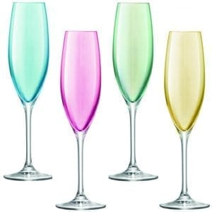 4 wine flute glasses in pastel colours